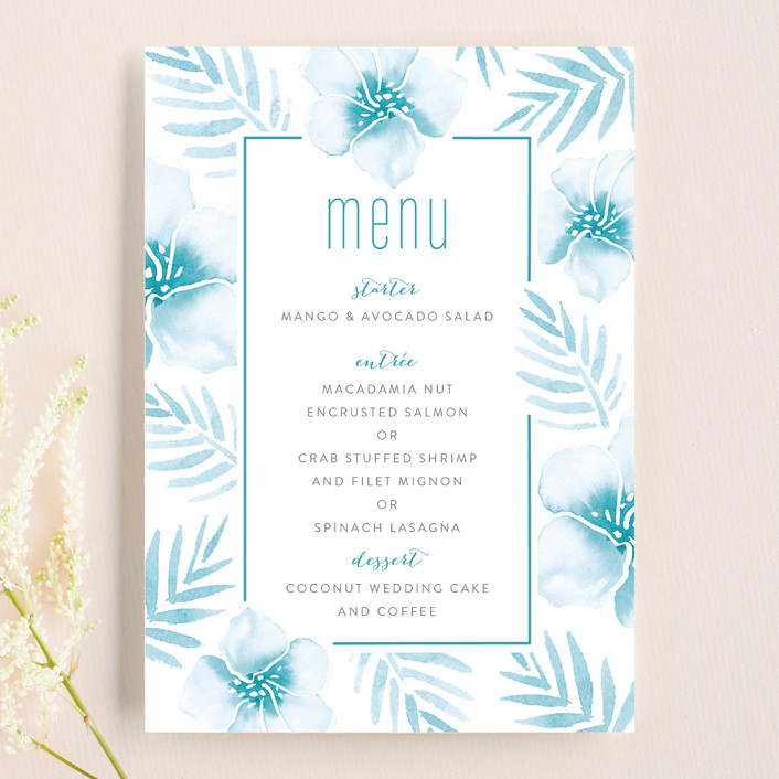 """""""Tropical Hibiscus"""" - Menu Cards in La Mer by Smudge Design."""