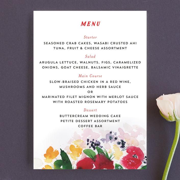 """Festive Floral"" - Menu Cards in Rose by Lindsay Megahed."