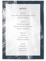 This is a blue menu card by Lisa Tamura Guerrero called Modern Brush with standard printing on signature in standard.
