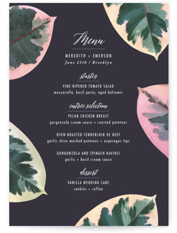 This is a botanical, purple Menus by Hooray Creative called Painterly Plant with Standard printing on Signature in Classic Flat Card format. Give guests a sneak peek of the meal to come with these unique menus. All menus can be ...
