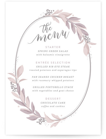 This is a botanical, purple Menus by Hooray Creative called Modern Wreath with Standard printing on Signature in Classic Flat Card format. Give guests a sneak peek of the meal to come with these unique menus. All menus can be ...