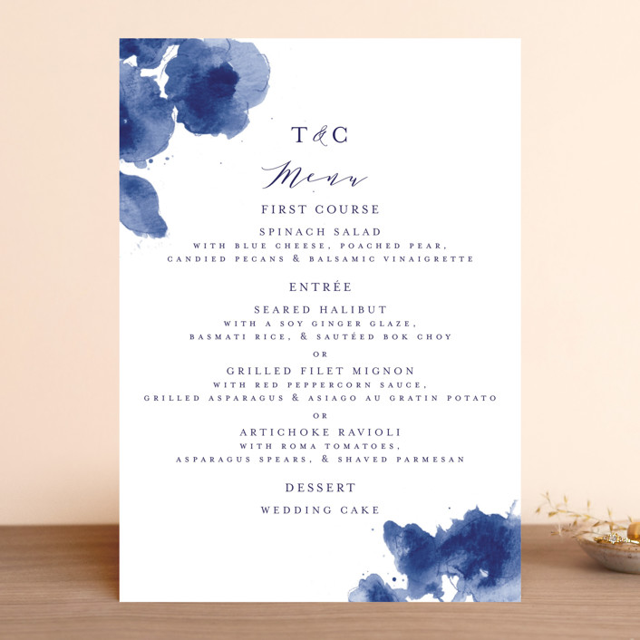 """""""Cornflower Wedding"""" - Menu Cards in Periwinkle by Chris Griffith."""