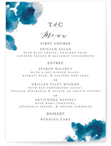 This is a botanical, painterly, blue Menus by Chris Griffith called Cornflower Wedding with Standard printing on Signature in Classic Flat Card format. Give guests a sneak peek of the meal to come with these unique menus. All menus can ...