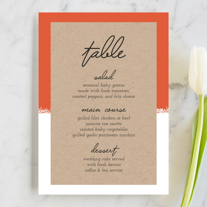 """Joyfully Ever After"" - Modern Menu Cards in Tangerine by Faiths Designs."