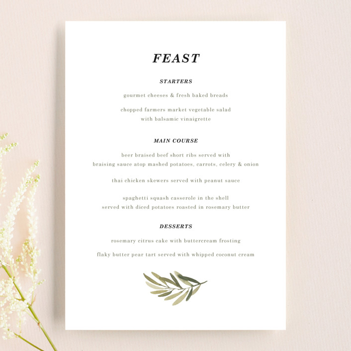 """""""Olive Branch"""" - Menu Cards in Olive by Wildfield Paper Co."""