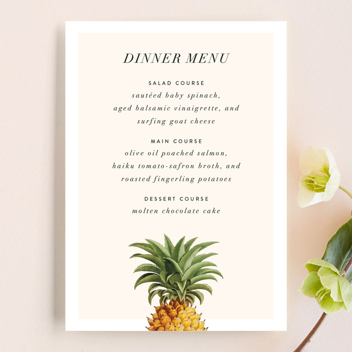 """""""Party in Paradise"""" - Menu Cards in Pineapple by Fig and Cotton."""