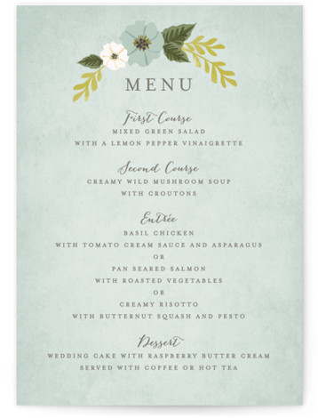 This is a green Menus by Karidy Walker called Floral Ring with Standard printing on Signature in Classic Flat Card format. Give guests a sneak peek of the meal to come with these unique menus. All menus can be customized ...