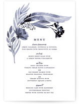 This is a purple menu card by Olivia Raufman called feathers & florals with standard printing on signature in standard.
