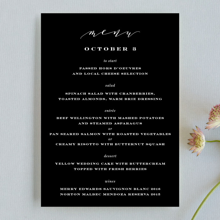 """Perspective"" - Menu Cards in Noir by Kimberly FitzSimons."