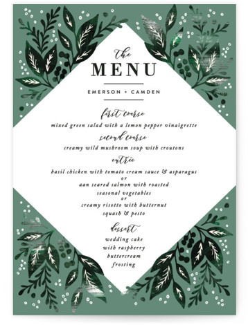This is a green Menus by Alethea and Ruth called Greenery Bouquet with Standard printing on Signature in Classic Flat Card format. Give guests a sneak peek of the meal to come with these unique menus. All menus can be ...