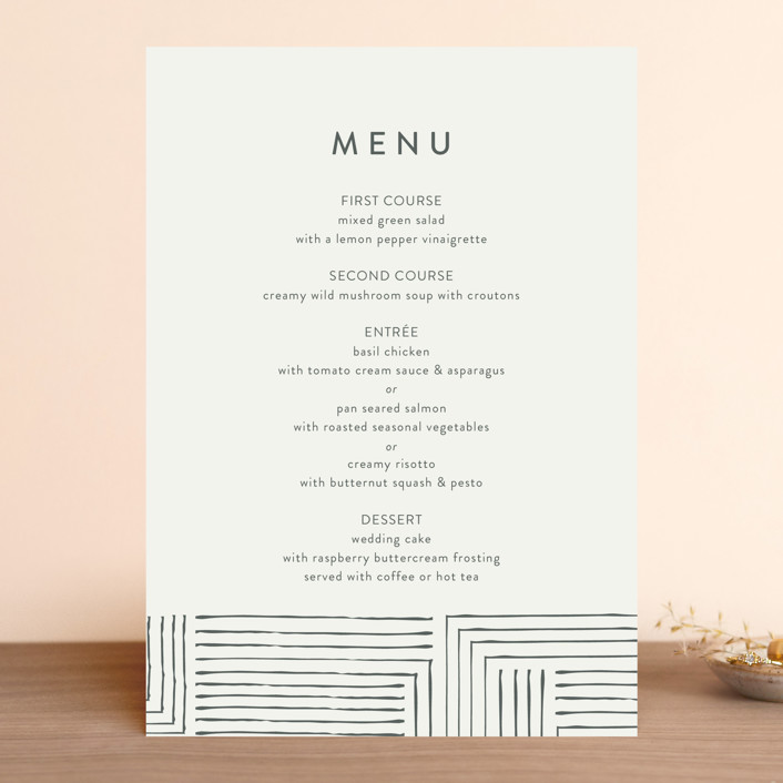 """""""Pattern Play"""" - Menu Cards in Pebble by Anelle Mostert."""