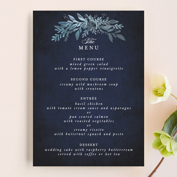 """Tailored Branches"" - Menu Cards in Atlantic by Karidy Walker."