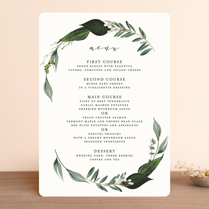 """""""Natures Greens"""" - Menu Cards in Ivory by Susan Moyal."""