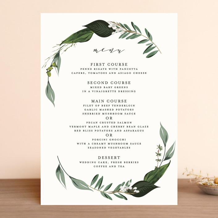 """Natures Greens"" - Menu Cards in Ivory by Susan Moyal."