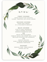 This is a white menu card by Susan Moyal called Natures Greens with standard printing on signature in standard.