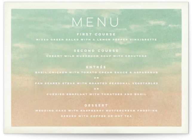 This is a green Menus by Pink House Press called Postcard from the Desert with Standard printing on Signature in Classic Flat Card format. Give guests a sneak peek of the meal to come with these unique menus. All menus ...