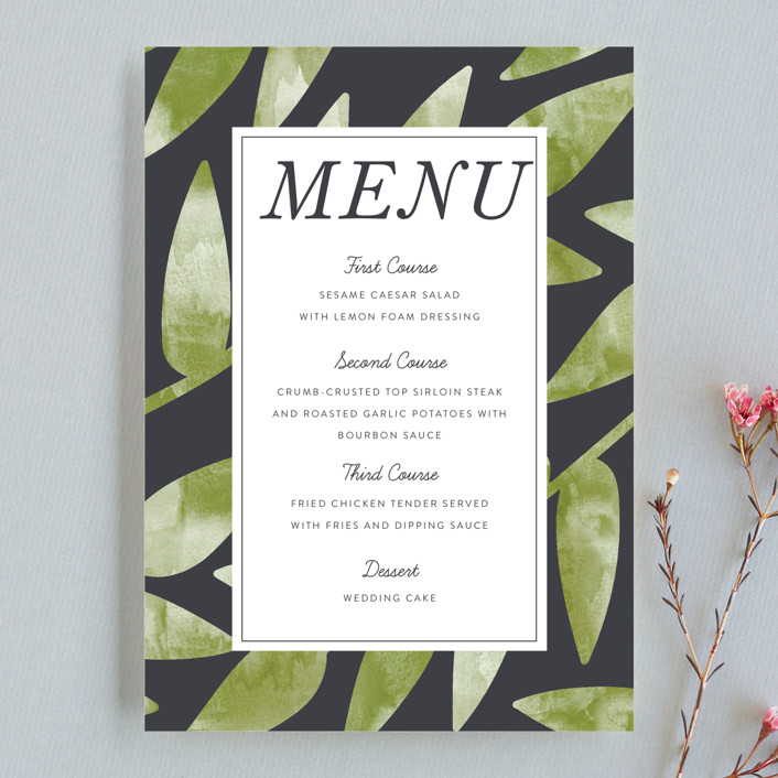 """Watercolor Leaf"" - Menu Cards in Porcelain by Johanna McShan."