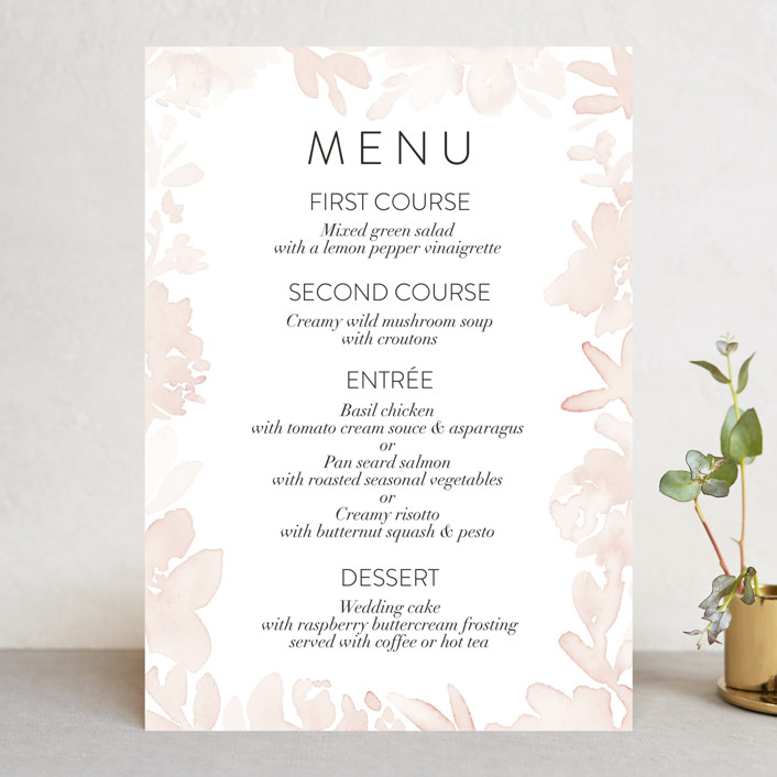"""Ethereal Bouquet"" - Menu Cards in Blush by Petra Kern."