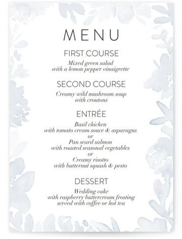 This is a blue Menus by Petra Kern called Etheral Bouquet with Standard printing on Signature in Classic Flat Card format. Give guests a sneak peek of the meal to come with these unique menus. All menus can be customized ...