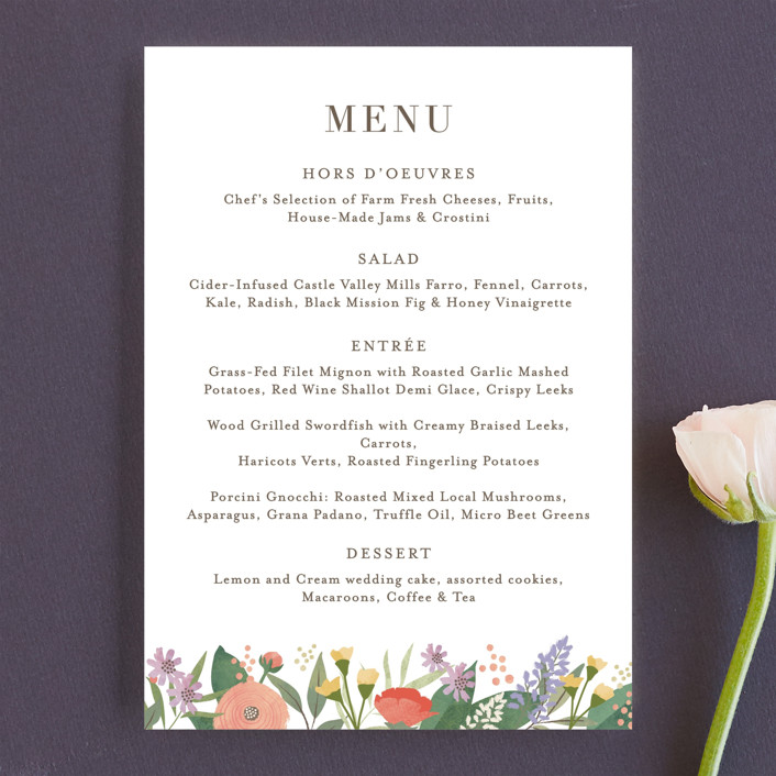 """Floral specimen"" - Menu Cards in Persimmon by Jennifer Wick."