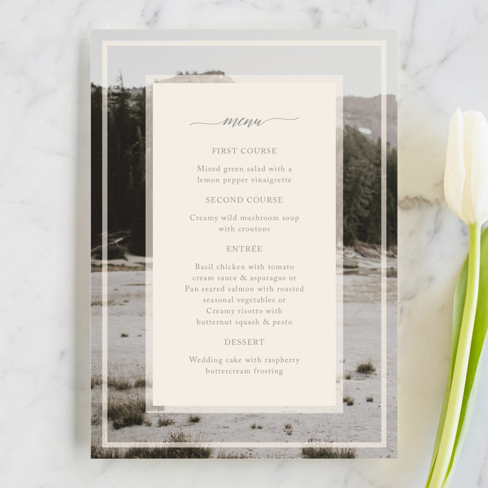 """Vintage Photo Frame"" - Menu Cards in Puddle by Katharine Watson."