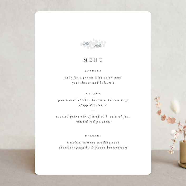 """""""A Thousand Years"""" - Menu Cards in Classic White by Design Lotus."""
