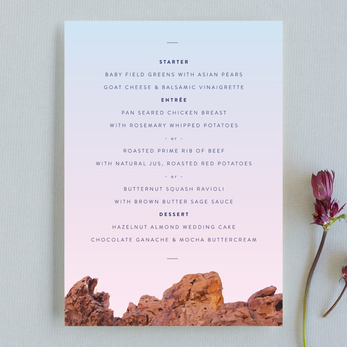 """Desert Rocks"" - Menu Cards in Sunset by Owl and Toad."