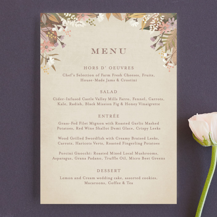 """turning leaves"" - Menu Cards in Champagne by Jennifer Wick."