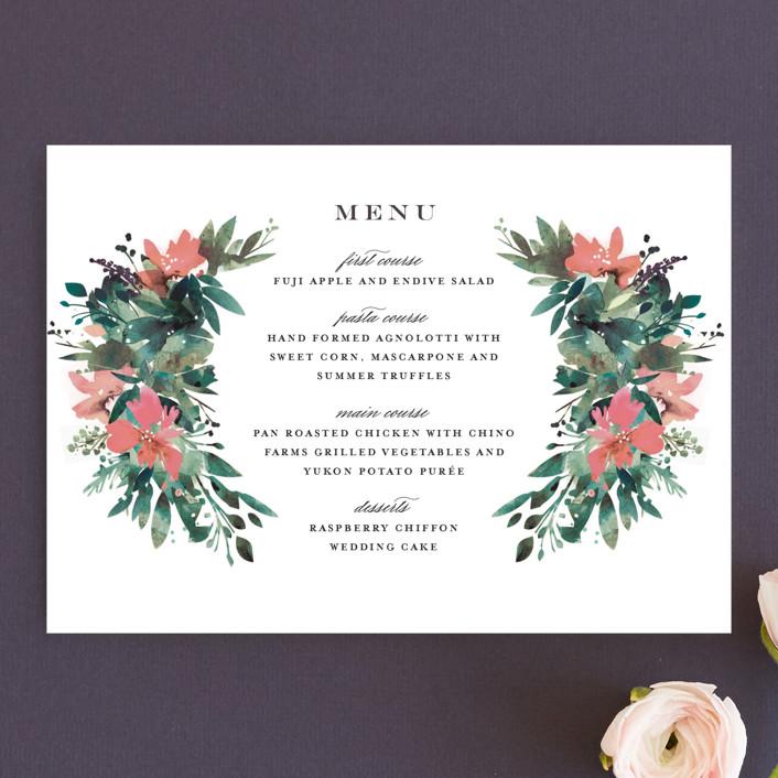 """""""Painted Laurel"""" - Menu Cards in Peach by Lori Wemple."""