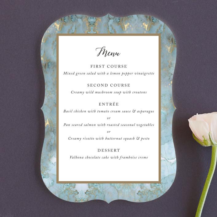 """Something Blue"" - Menu Cards in Aqua by Benita Crandall."