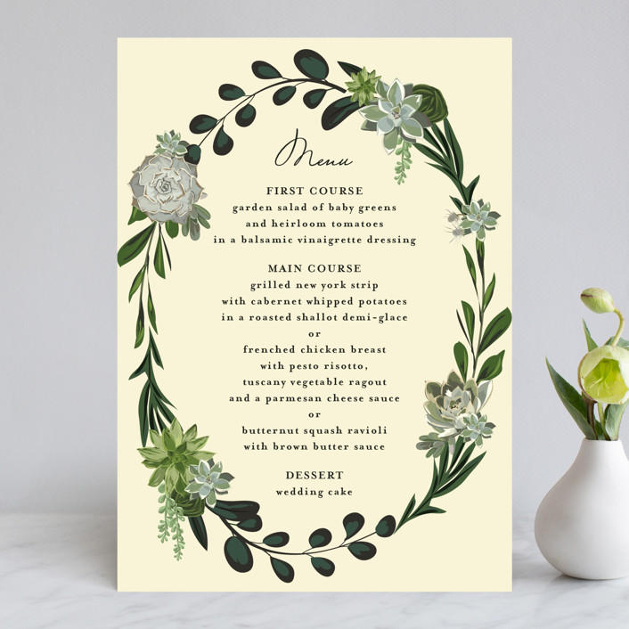 """Agave & Greens"" - Menu Cards in Midnight by Susan Moyal."