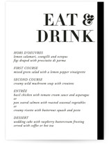 This is a black and white menu card by 2birdstone called Basically with standard printing on signature in standard.