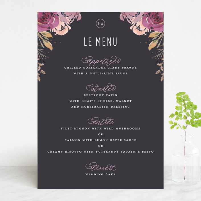 """""""Midnight Blooms"""" - Menu Cards in Payne Grey by Bonjour Paper."""