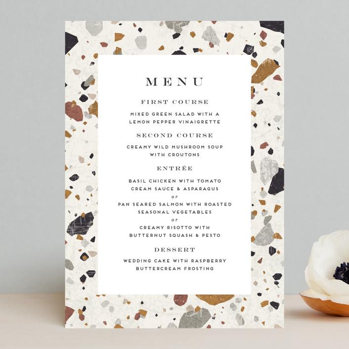 """Terrazzo Frame"" - Modern Menu Cards in Mustard by Amy Payne."