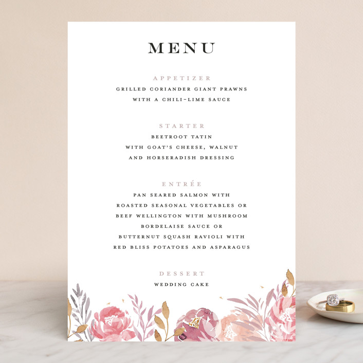 """Grand Bloom"" - Menu Cards in Mauve by Bonjour Paper."