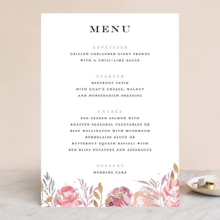 """Grand Bloom"" - Menu Cards in Mauve by Bonjour Paper."