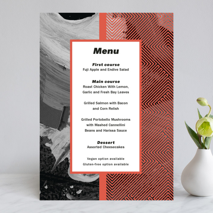 """""""Alexis"""" - Modern Menu Cards in Coral by chimesdesign."""