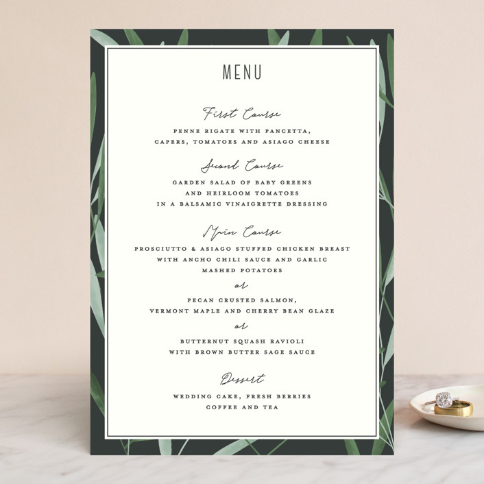 """Oliviers"" - Menu Cards in Spring by Gwen Bedat."