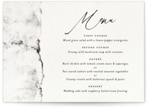 This is a black and white menu card by Pink House Press called Inky with standard printing on signature in standard.
