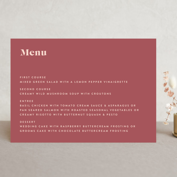 """headline"" - Menu Cards in Rust by Melissa Egan of Pistols."