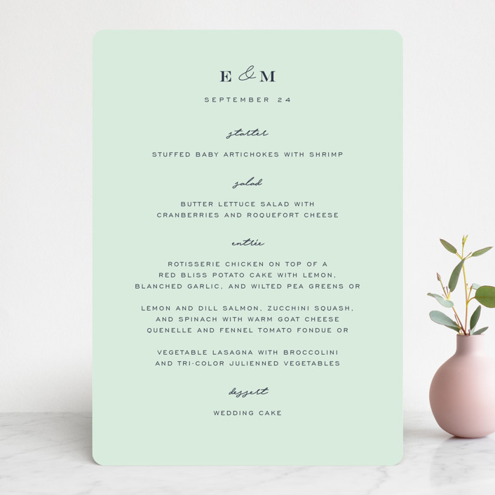 """""""Cascading Florals"""" - Menu Cards in Rouge by Leah Bisch."""