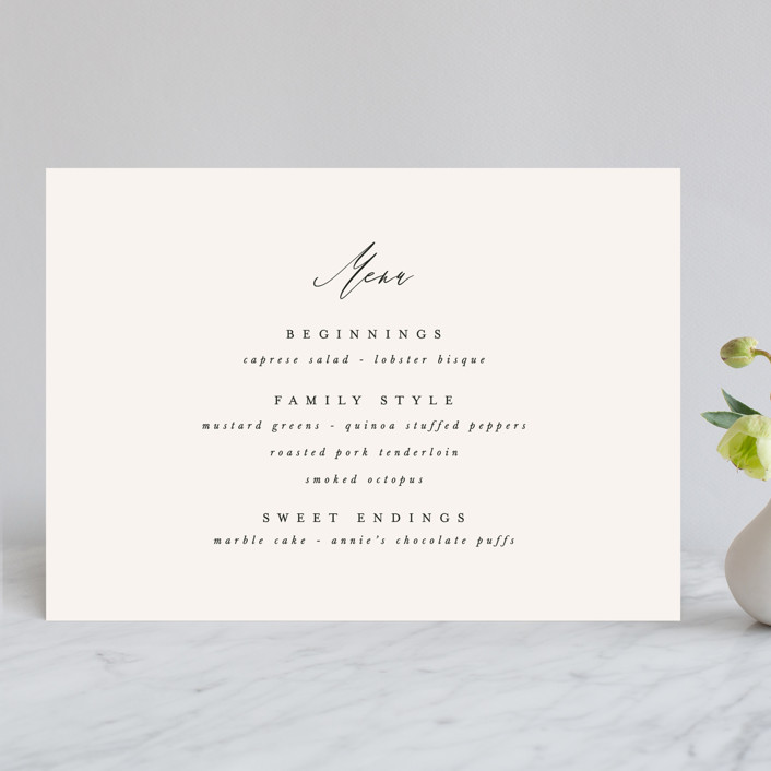 """Timeless"" - Menu Cards in Taupe by Leah Bisch."