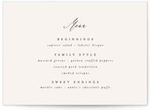 This is a beige menu card by Leah Bisch called Timeless with standard printing on signature in standard.