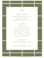 This is a green menu card by Toast & Laurel called New England with standard printing on signature in standard.