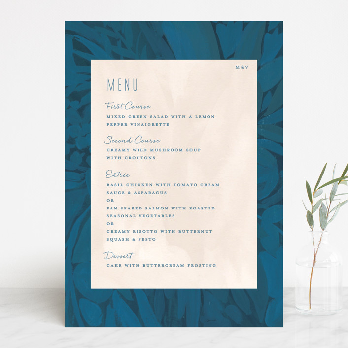 """Floral Burst"" - Menu Cards in Ocean by Morgan Ramberg."