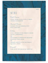 This is a blue menu card by Morgan Ramberg called Floral Burst with standard printing on signature in standard.