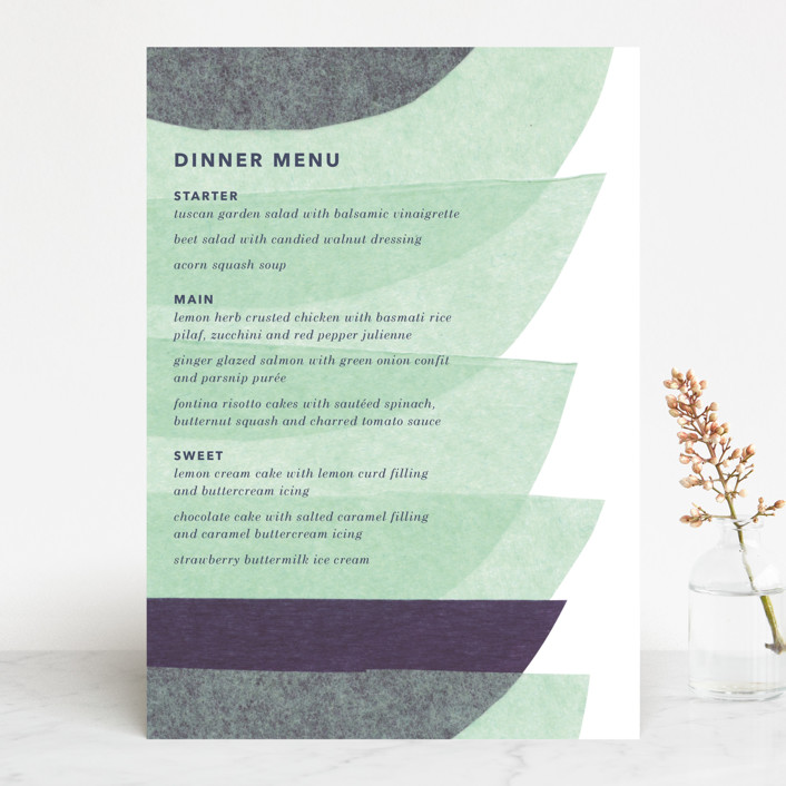 """""""tissue union"""" - Modern Menu Cards in Cucumber by Carrie Moradi."""