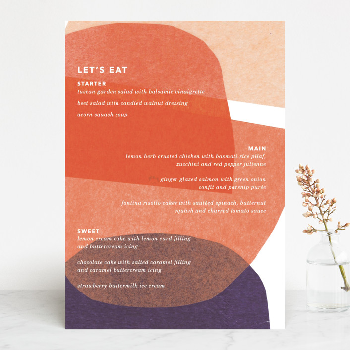 """tissue texture"" - Modern Menu Cards in Papaya by Carrie Moradi."
