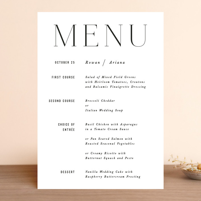 """Namely"" - Menu Cards in Pearl by Hooray Creative."