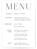 This is a black and white menu card by Hooray Creative called Namely with standard printing on signature in standard.